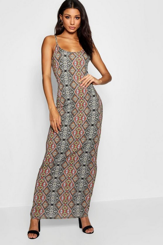Multi Print Strappy Maxi Dress