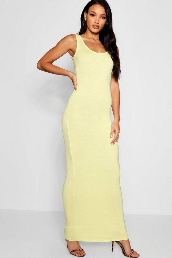 Womens Lemon Scoop Neck Maxi Dress