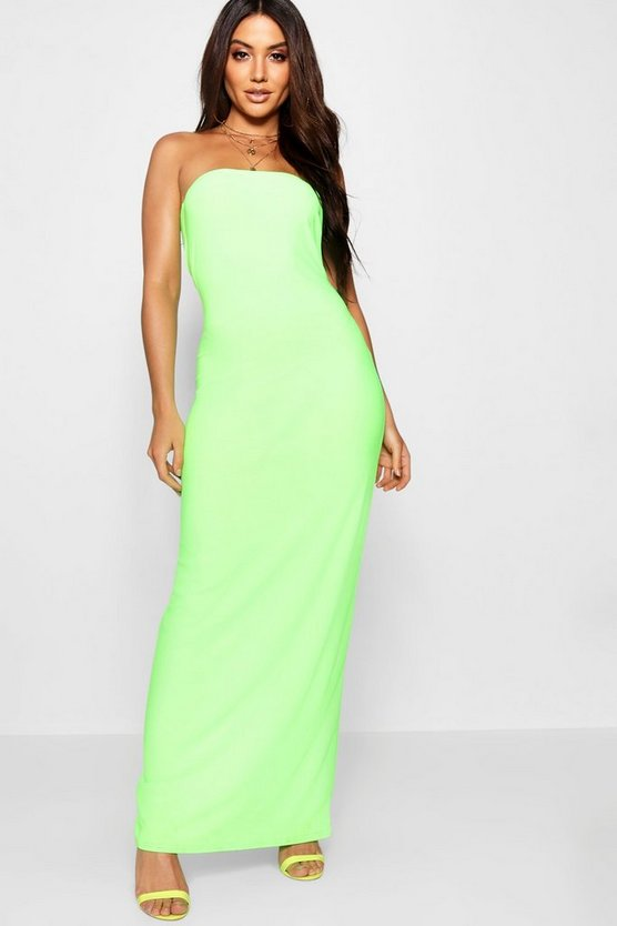 Lime Neon Bandeau Maxi Dress
