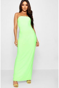 Womens Lime Neon Bandeau Maxi Dress