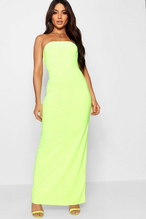 Womens Yellow Neon Bandeau Maxi Dress
