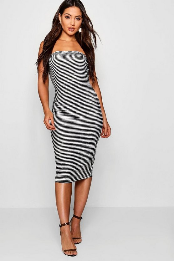 Textured Stripe Bandeau Midi Dress