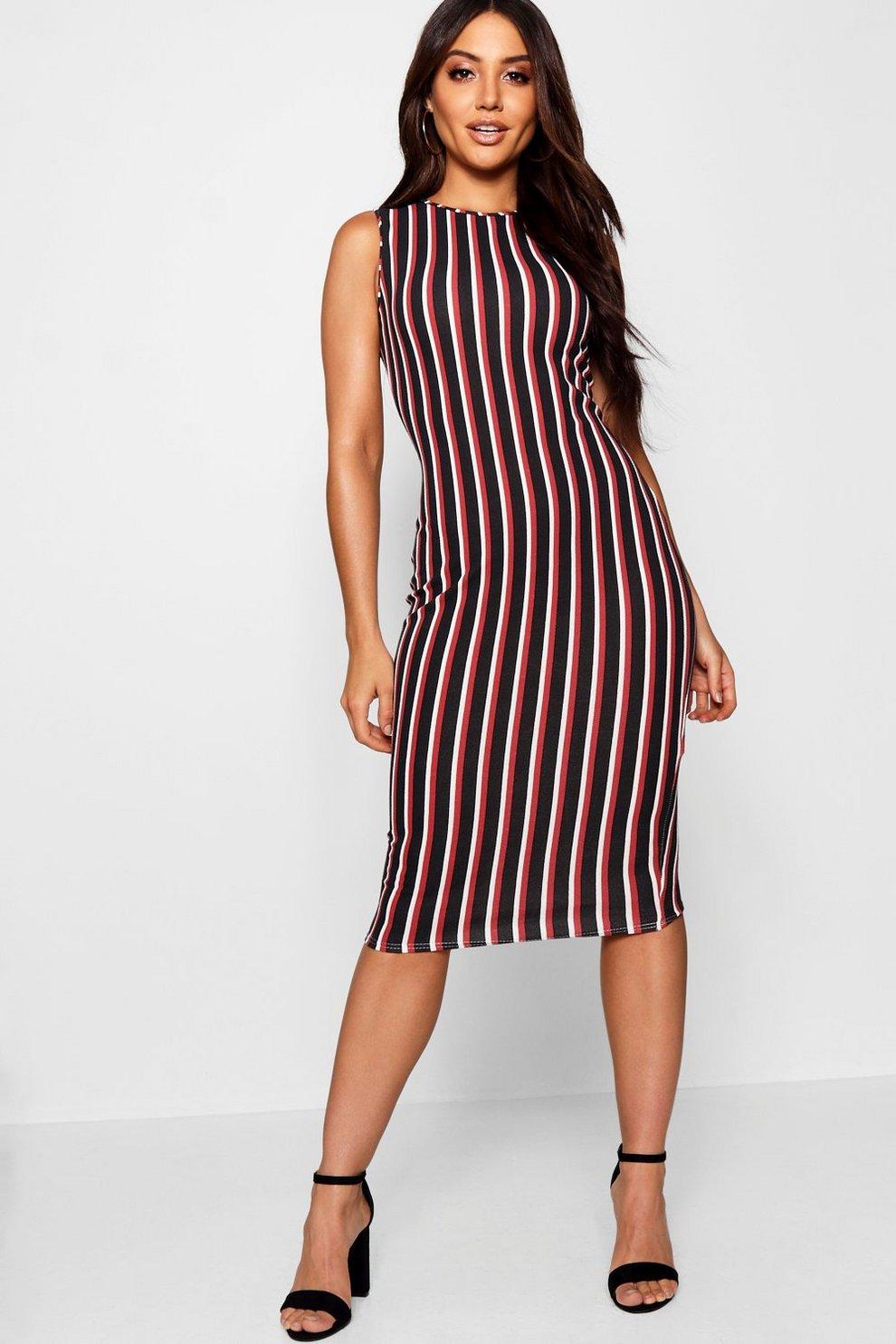 Nautical Stripe Round Neck Midi Dress Boohoo