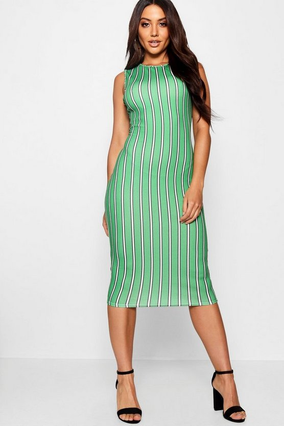 Green Stripe Round Neck Midi Dress