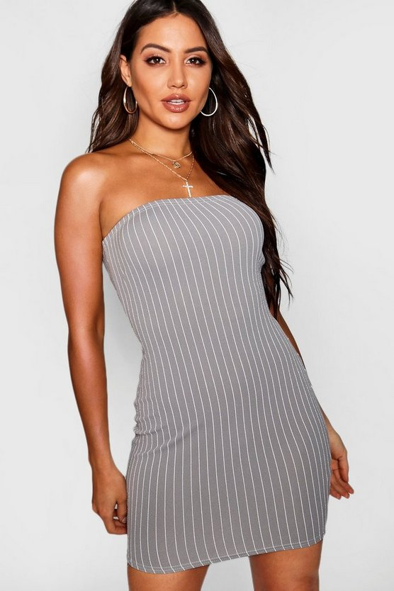 Grey Pinstripe Bandeau Mini Dress