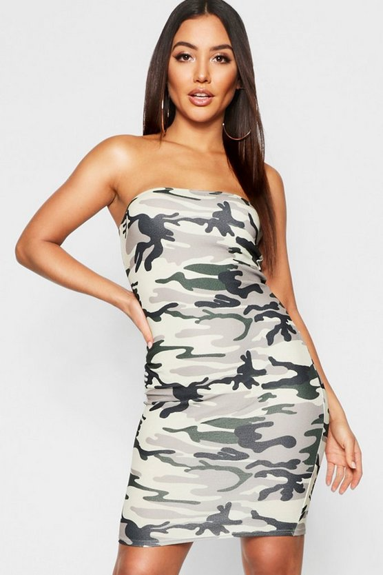 Camo Print Bandeau Mini Dress, Khaki, ЖЕНСКОЕ