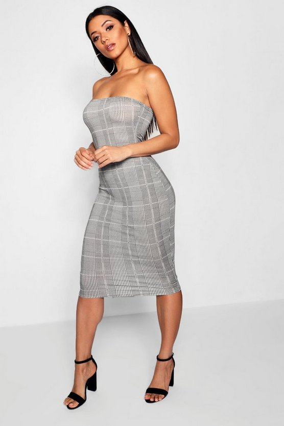 Dogtooth Check Bandeau Mini Dress