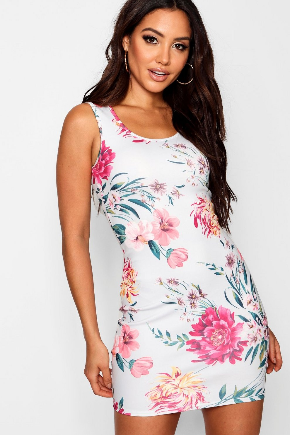 93a042afeeaa Womens Grey Floral Print Mini Dress