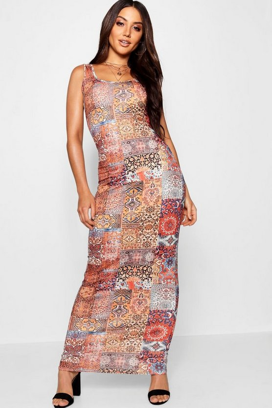 Womens Orange Bohemian Slant Print Maxi Dress