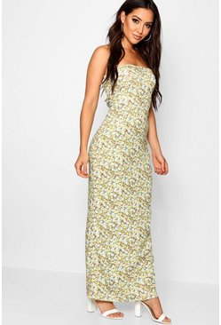 Womens Yellow Floral Print Bandeau Maxi Dress