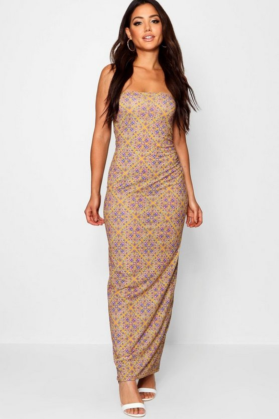 Floral Print Bandeau Maxi Dress