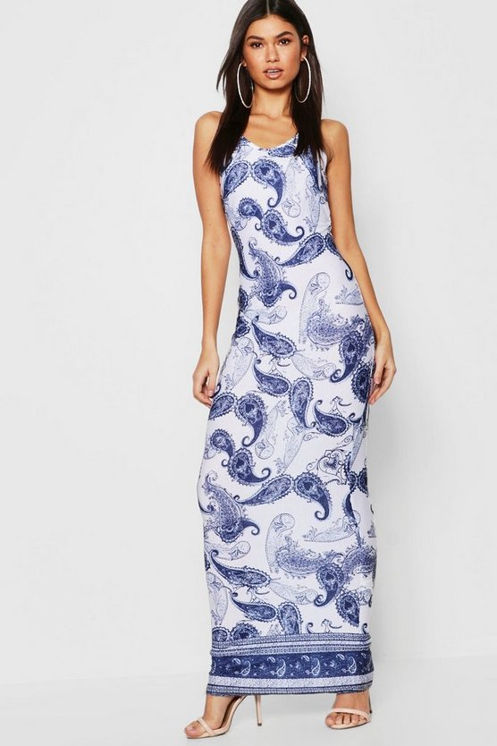 Womens Blue Border Print Maxi Dress