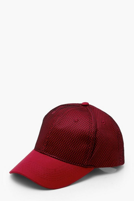 Womens Wine Netted Mesh Cap