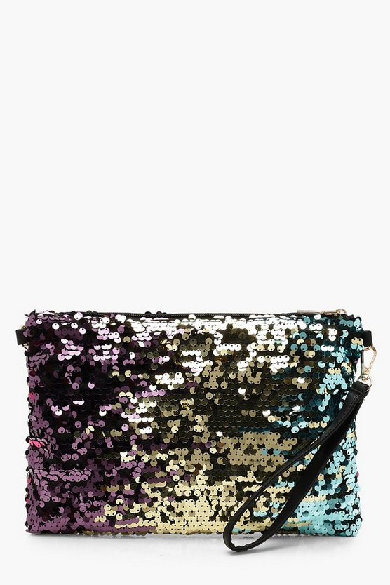 Womens Blue Ombre Sequin Clutch Bag With Strap