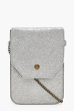 Glitter Messenger Bag With Chain