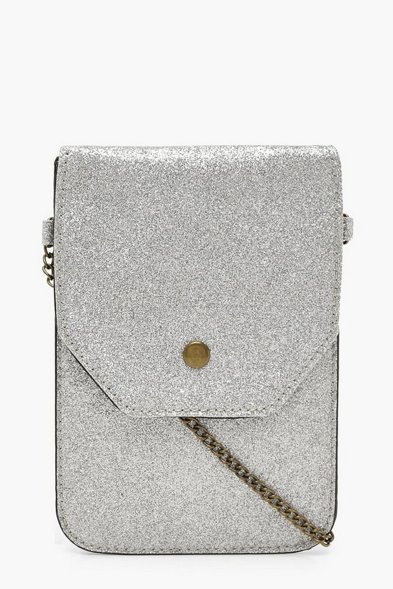 Glitter Messenger Bag With Chain, Silver, Donna