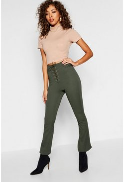 Womens Khaki Lucy Lace Up Front Skinny Trousers