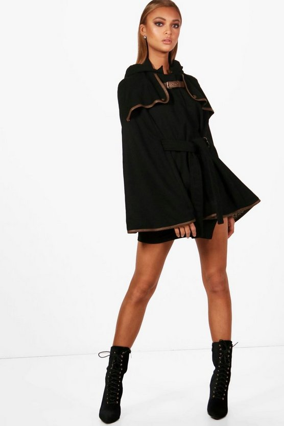 Womens Black Wool Cape