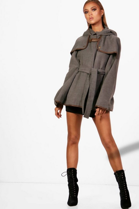 Womens Grey Wool Cape