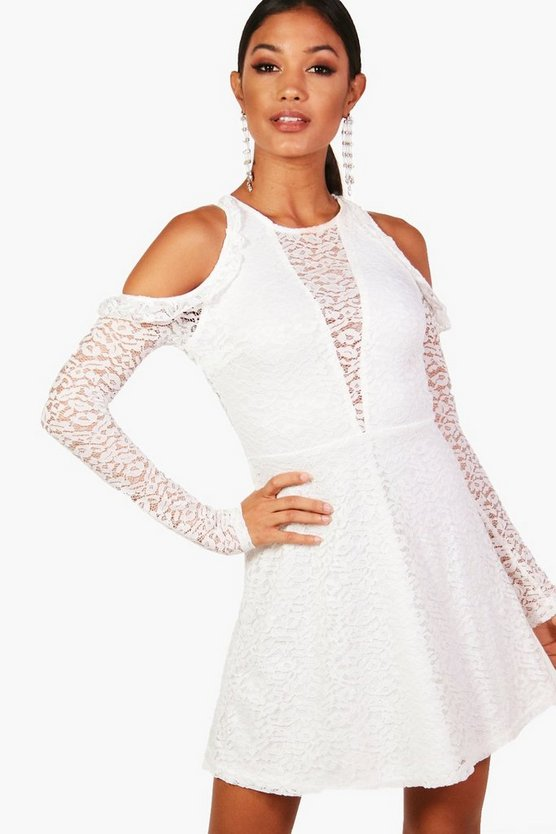 Womens White Lace Skater Dress