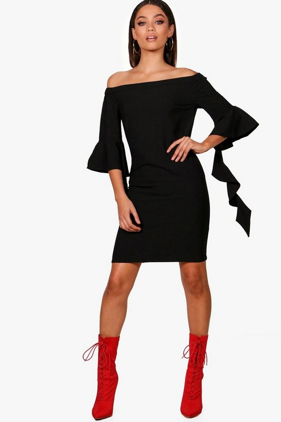 Ruffle Sleeve Off Shoulder Shift Dress