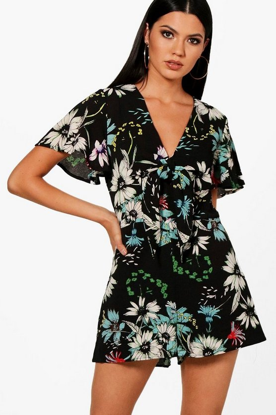 Adalyn Floral Tie Front Playsuit
