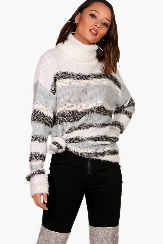 Stripe Fluffy Knitted Jumper