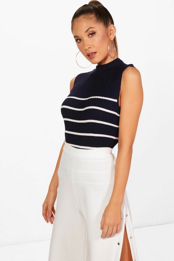 Chaise Stripe Knitted Sleeveless Top