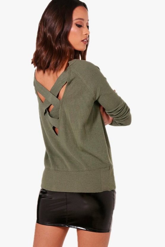 Womens Khaki Bat Wing Jumper