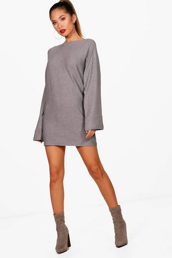 Flute Sleeve Jumper Dress