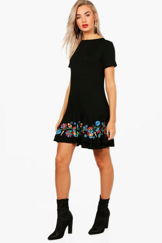 Darcy Printed Embroidered Shift Dress