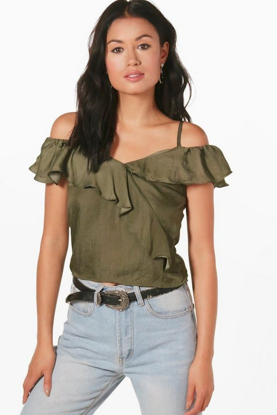 Cold Shoulder Frill Crop