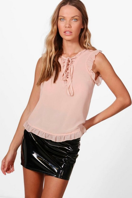 Womens Lace Up Frill Detail Shirt