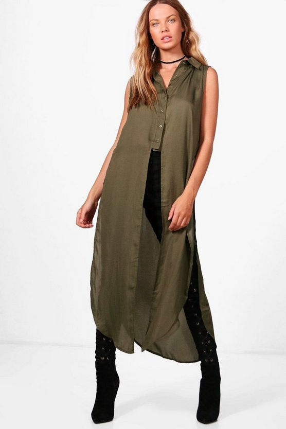 Grace Longline Button Up Shirt