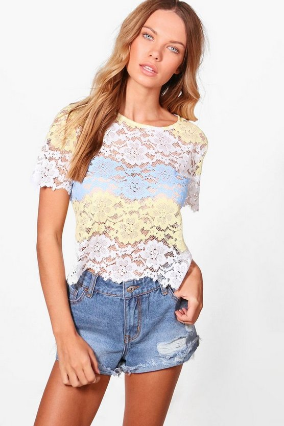 Womens Blue Rose Lace Stripe Top