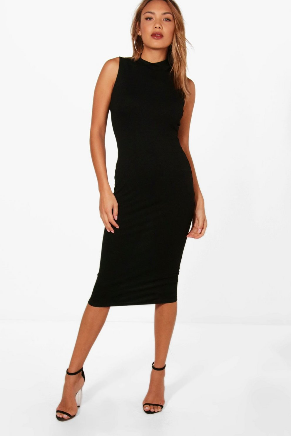 0206e3f69f8b Karen High Neck Sleeveless Midi Dress | Boohoo