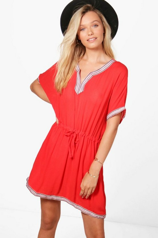 Womens Coral Sally Embroidered Tie Waist Smock Dress
