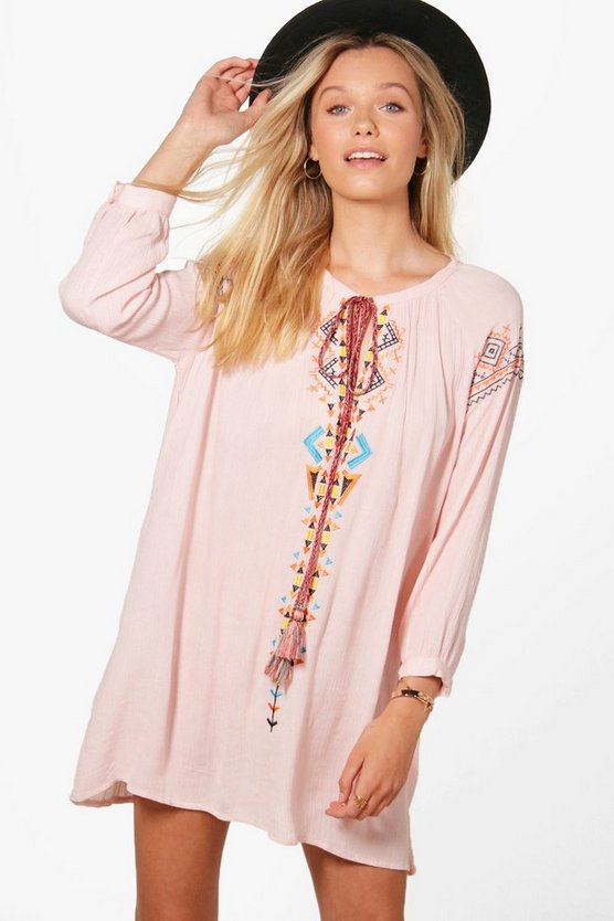 Mona Embroidered Smock Dress, Pink, MUJER