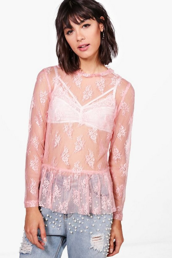 Lily Lace Long Sleeve Top With Ruffle Neck
