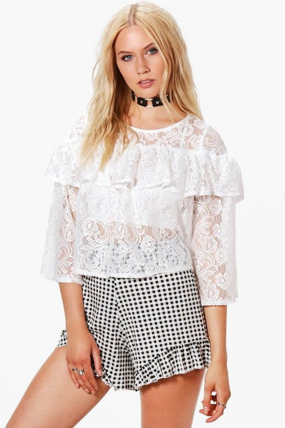 Lucy Lace Ruffle Top