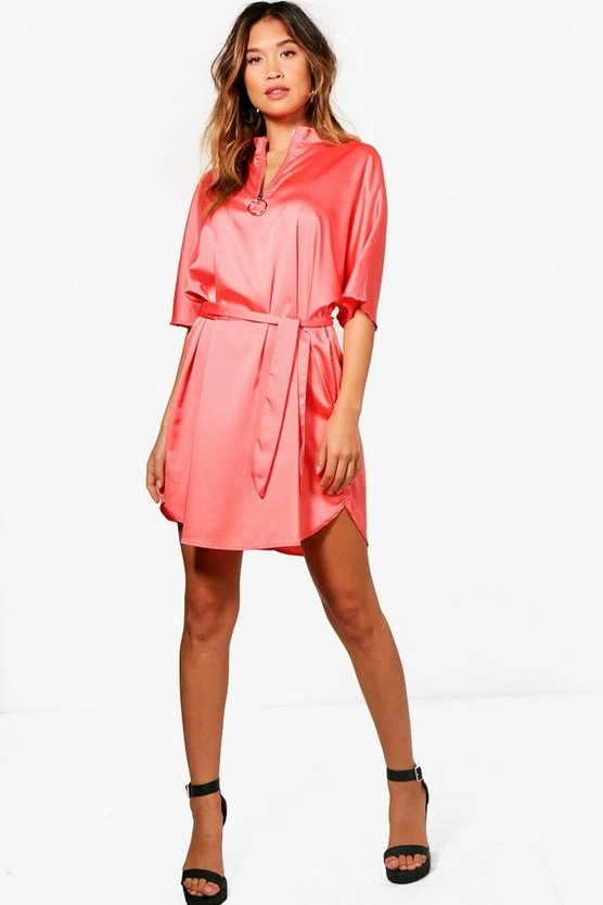 Tanya Satin O-Ring Pull Dress