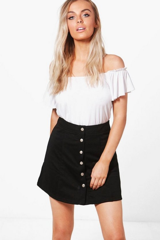 Hattie Button Front Ponte A Line Skirt