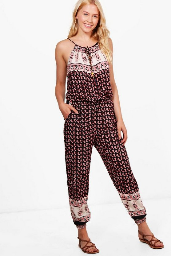 Johanna Printed Strap Detail Jumpsuit