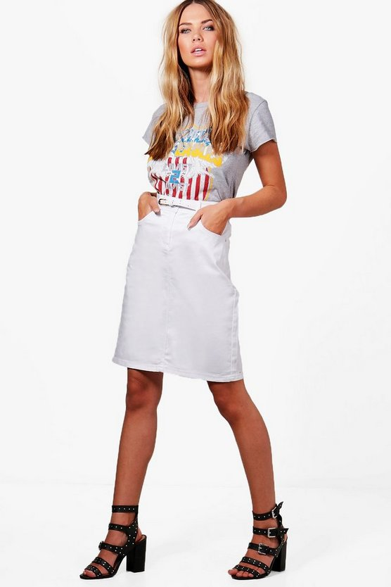 Womens White Melissa Midi Belted Skirt
