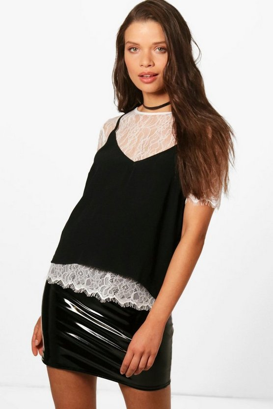 Lacey 2 in 1 Lace Tee With Cami Top