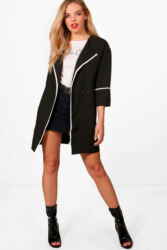 Womens Black Summer Collarless Coat