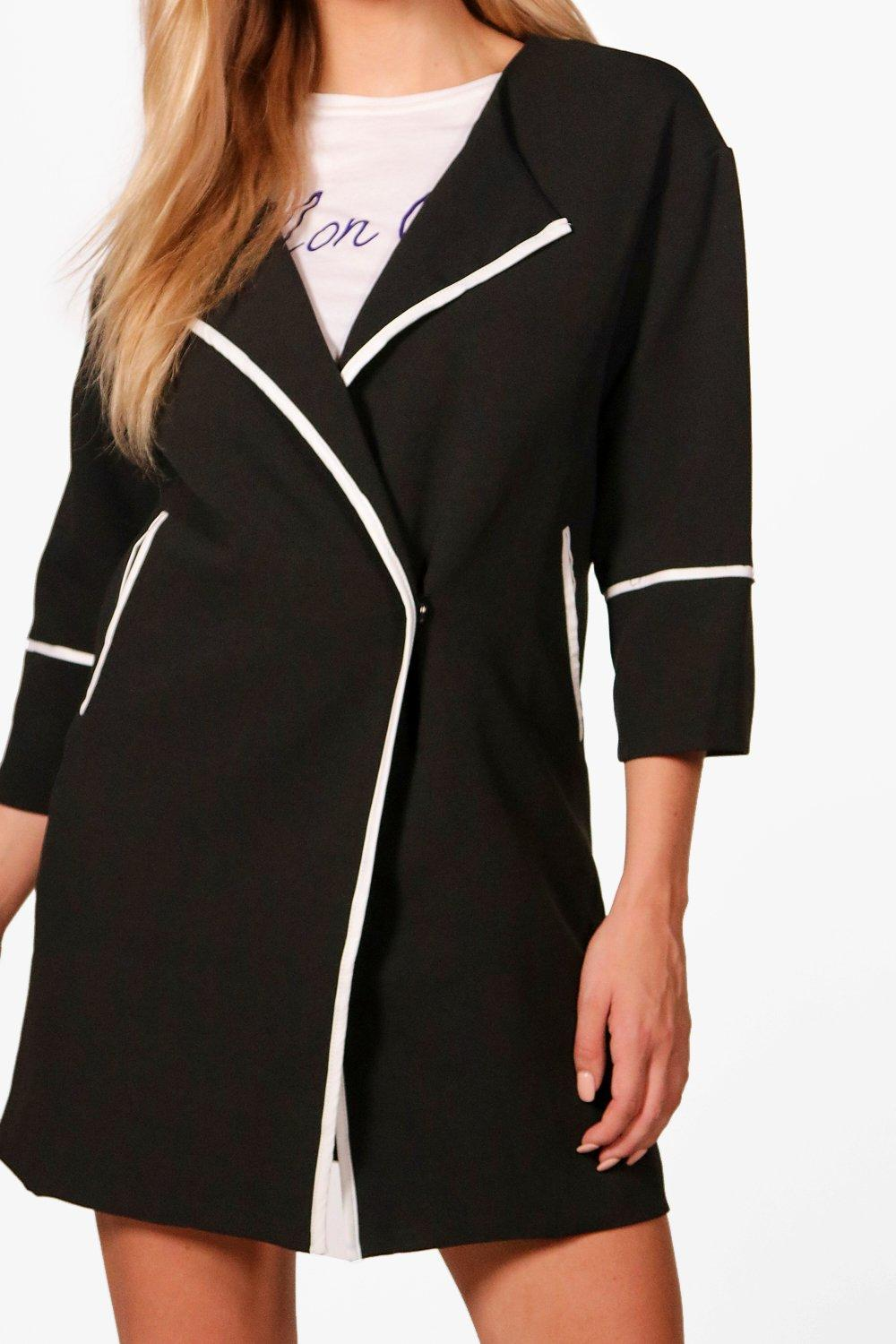 NEW-Boohoo-Womens-Summer-Collarless-Coat-in-Polyester