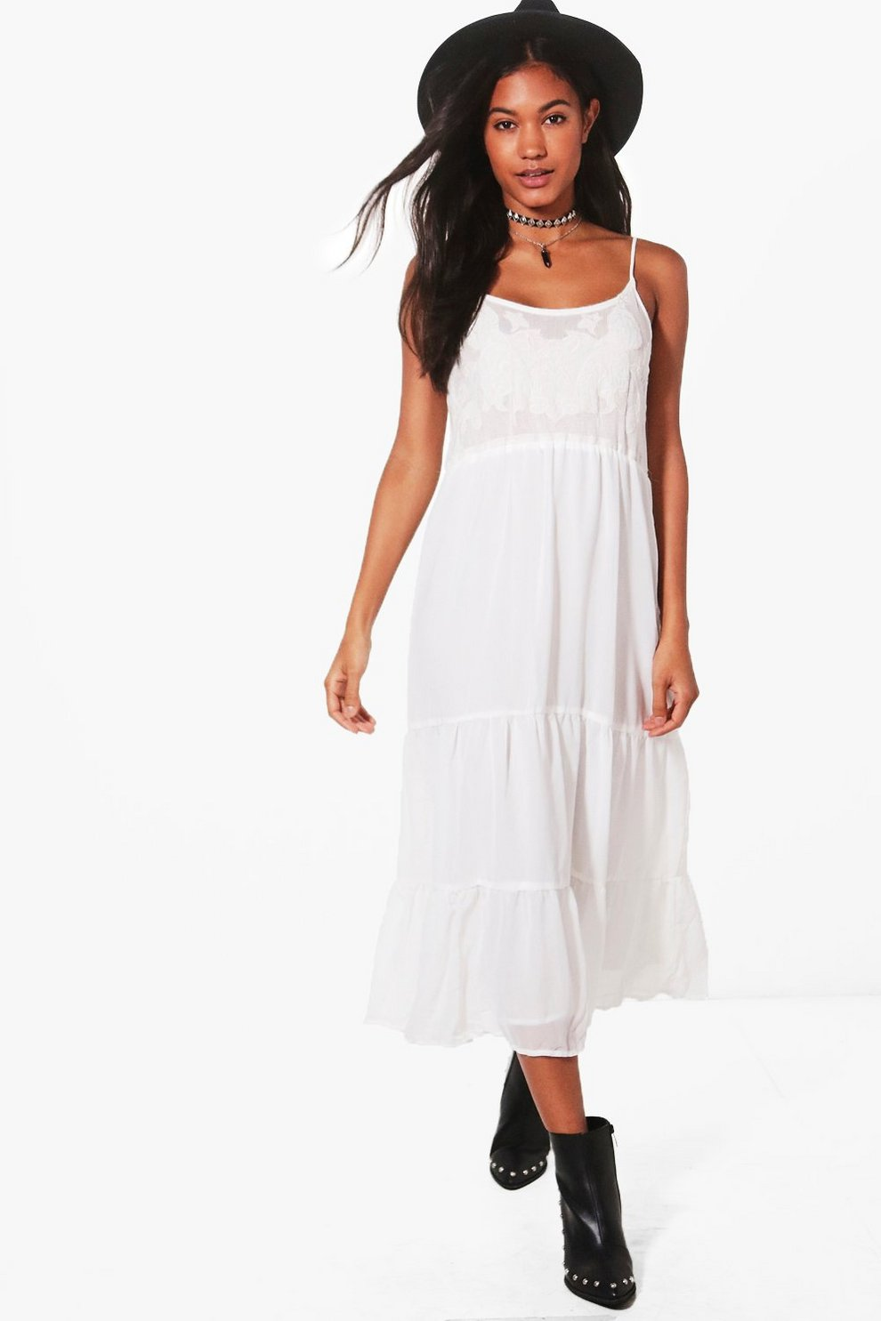 b8352de583721 Bella Tiered Summer Midi Dress | Boohoo
