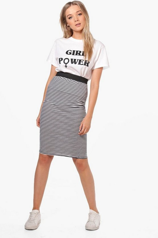 Frances Navy Stripe Midi Skirt