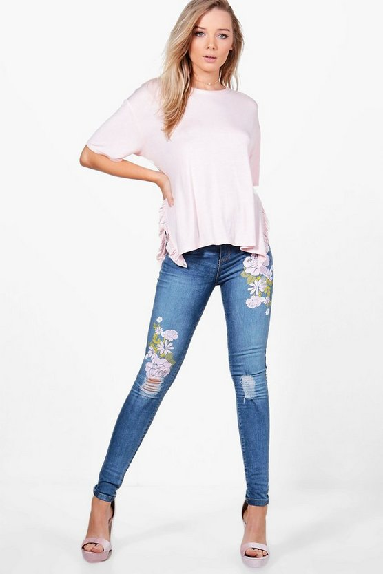 nadia jeans con stampa floreale